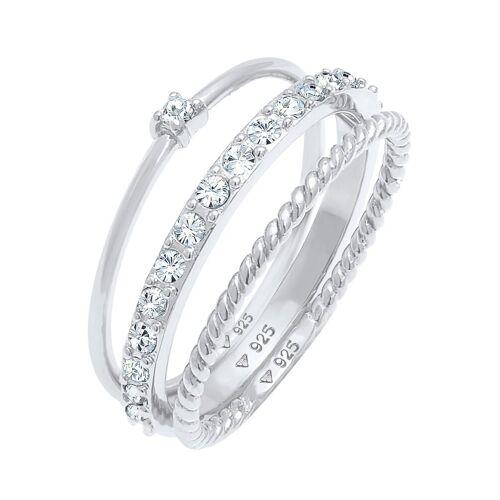 Elli Ring-Set »0607890620, 0607960620« (Set, 3-tlg), mit Kristall, silberfarben-kristallweiß