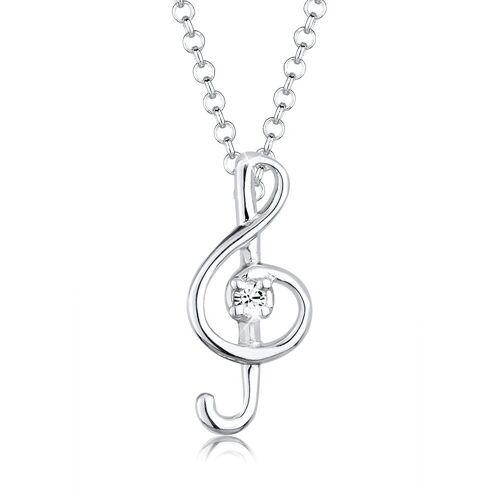 Elli Kette mit Anhänger »Notenschlüssel Kristalle 925 Silber«, Notenschlüssel