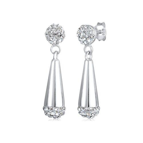 Elli Paar Ohrstecker »Kugel Tropfen Kristalle 925 Silber«, Kristall Ohrhänger