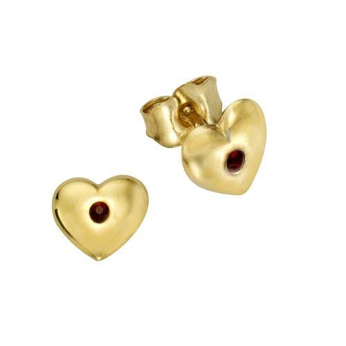 Zeeme Paar Ohrstecker »333/- Gelbgold Kristall rot«, hochglanzpoliert