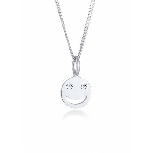 Elli Kette mit Anhänger »Smiley Face Emoji Kristalle 925 Silber«, Smiley, Silber