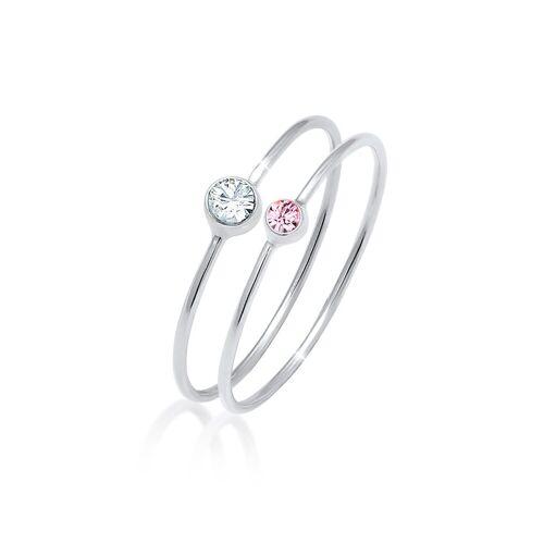 Elli Ring-Set »Solitär Kristalle (2 tlg) 925 Silber«, Solitär-Ring, Rosa