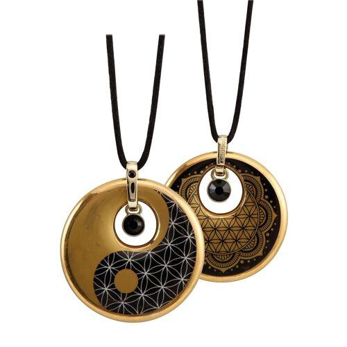 Goebel Kette mit Anhänger »Lotus, Ying Yang, 23120231«, mit Kristallen
