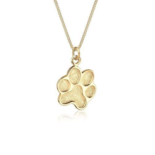 Elli Kette mit Anhänger »Pfote Symbol Hund 925 Silber«, Pfote, Gold