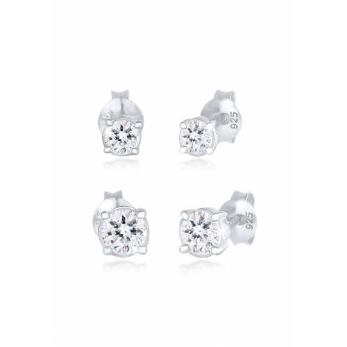 Elli Ohrring-Set »Paar Ohrstecker Rund Kristalle (4 tlg)«, Basic Ohrstecker, Silber