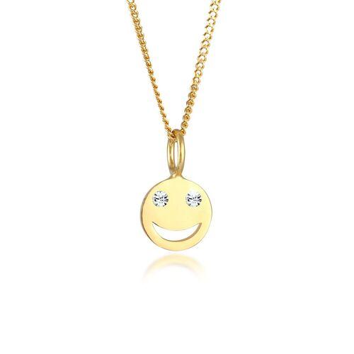 Elli Kette mit Anhänger »Smiley Face Emoji Kristalle 925 Silber«, Smiley, Gold
