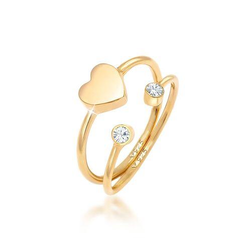 Elli Ring-Set »Herz Liebe Kristall (2 tlg) 925 Silber«, Kristall Ring, Gold