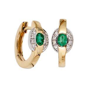Jobo Paar Creolen, 585 Gold bicolor mit 16 Diamanten und Smaragd