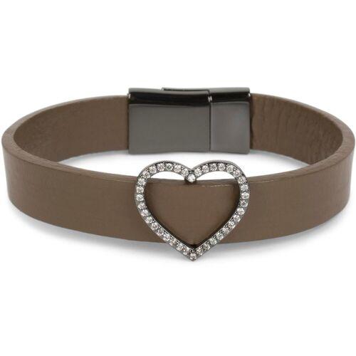 styleBREAKER Armband »Armband mit Herz & Strass«, Armband mit Herz & Strass, Braun