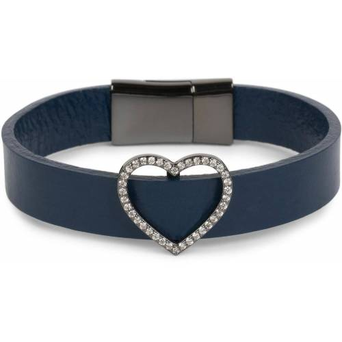 styleBREAKER Armband »Armband mit Herz & Strass«, Armband mit Herz & Strass, Dunkelblau