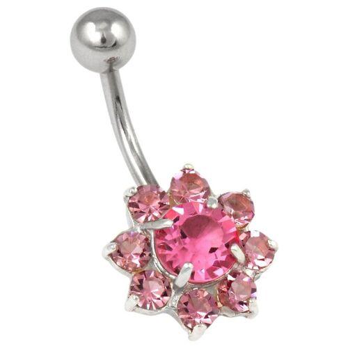 Firetti Bauchnabelpiercing »Blume«, mit Swarovski® Kristallen