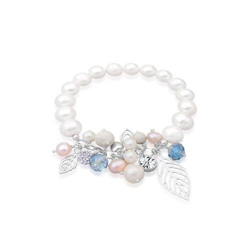Elli Perlenarmband »Süßwasserperle Swarovski® Kristall Silber«