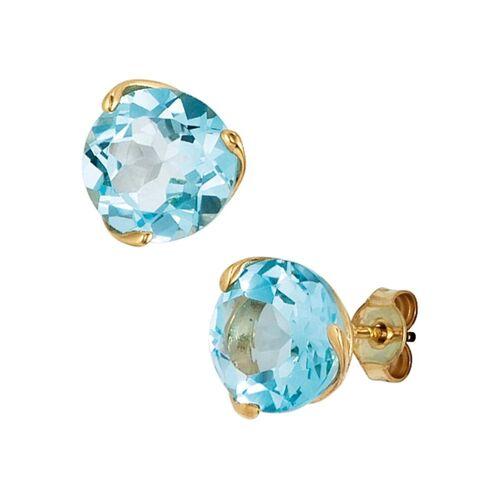 Jobo Paar Ohrstecker, rund 585 Gold mit Blautopas