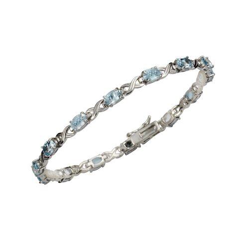 Zeeme Armband 925/- Sterling Silber Blautopas, weiß