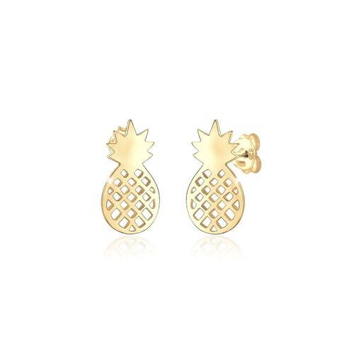 Elli Paar Ohrstecker »Ohrstecker Ananas Frucht Trend Sommer 925er Silber«, goldfarben
