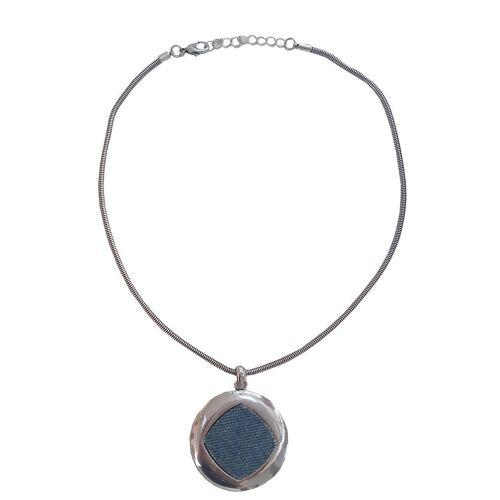 leslii Kette mit Karabinerverschluss, silber-blau