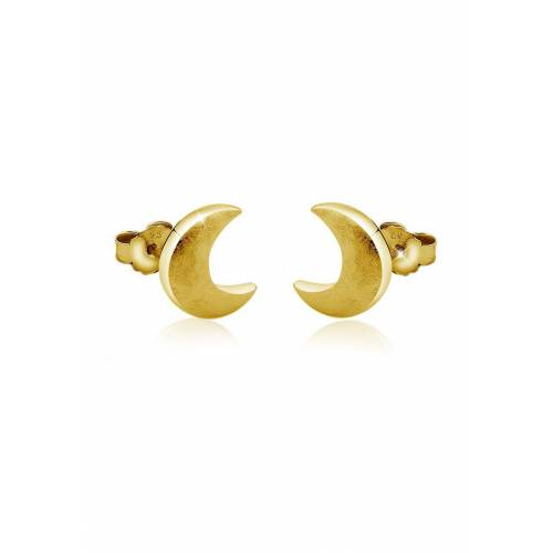Nenalina Paar Ohrstecker »Stecker Halbmond Astro Look 925 Silber«, goldfarben