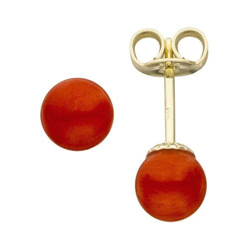 Jobo Paar Ohrstecker, 585 Gold mit Koralle