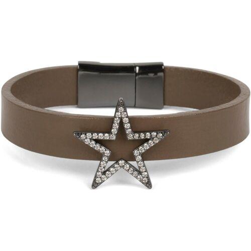 styleBREAKER Armband »Armband mit Stern & Strass«, Armband mit Stern & Strass, Braun