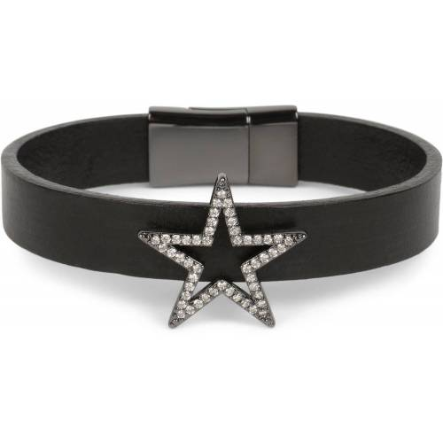 styleBREAKER Armband »Armband mit Stern & Strass«, Armband mit Stern & Strass, Schwarz