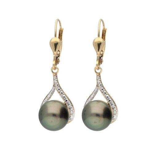Vivance Paar Ohrhänger »Tahitiperlen«, 2x Tahitiperle, 2x Diamant 0,01ct.