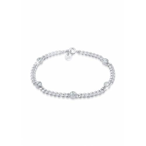 Elli Armband »Panzerkette Basic Swarovski® Kristalle 925 Silber«