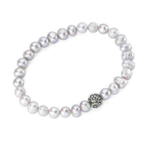 Smart Jewel Armband »auf Gummifaden mit Süßwasserperlen und Kristallsteinen«