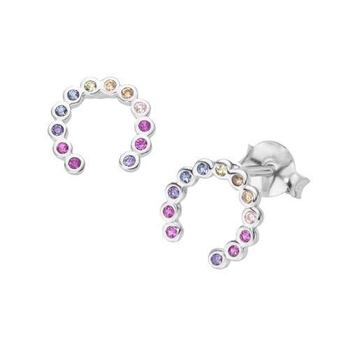 Smart Jewel Paar Ohrstecker »Hufeisen, Silber 925«, Bunt