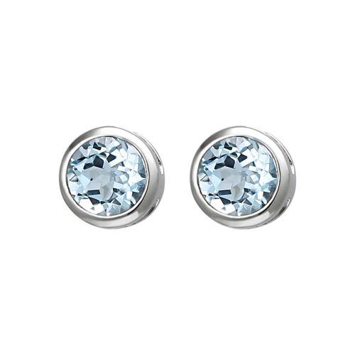 Jobo Paar Ohrstecker, 925 Silber mit Blautopas