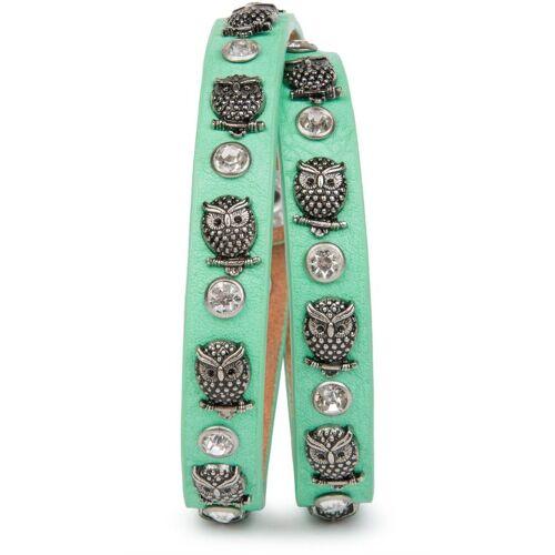 styleBREAKER Wickelarmband »Armband mit Eulen Nieten & Strass«, Armband mit Eulen Nieten & Strass, Mint