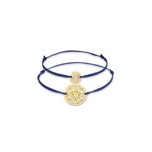 Elli Armband Set »Lebensblume Mutter Kind Set Nylon 925 Silber«, Blume