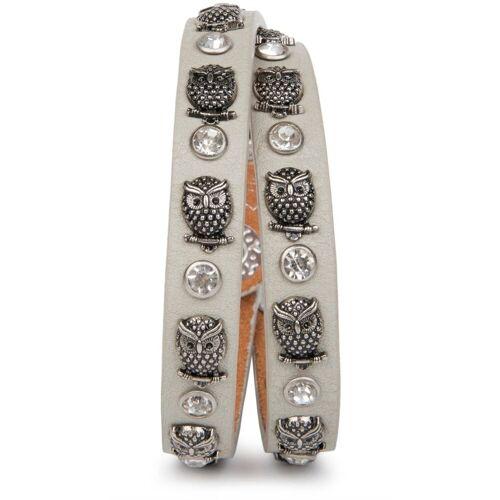styleBREAKER Wickelarmband »Armband mit Eulen Nieten & Strass«, Armband mit Eulen Nieten & Strass, Hellgrau