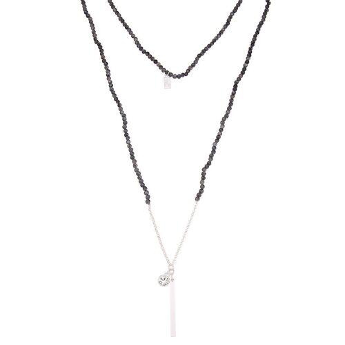 leslii Halskette mit Karabinerverschlusss, grau-silber