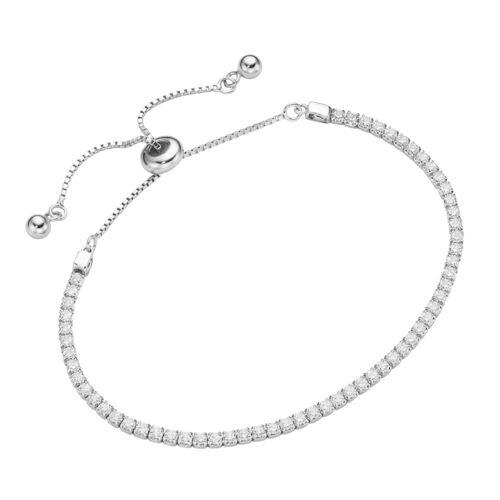 Smart Jewel Armband »Tennisarmband, Silber 925«, Weiss