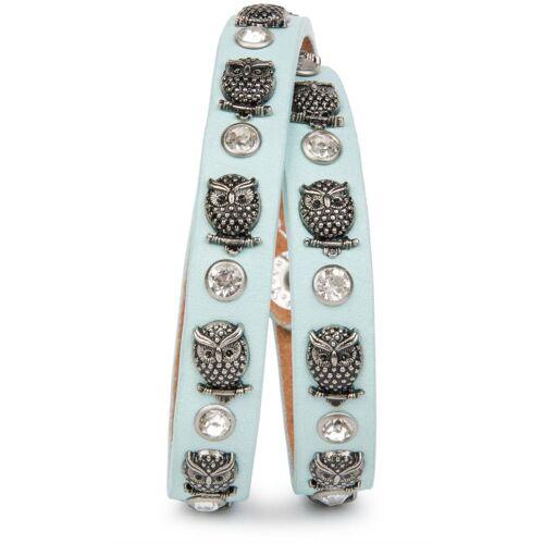 styleBREAKER Wickelarmband »Armband mit Eulen Nieten & Strass«, Armband mit Eulen Nieten & Strass, Hellblau