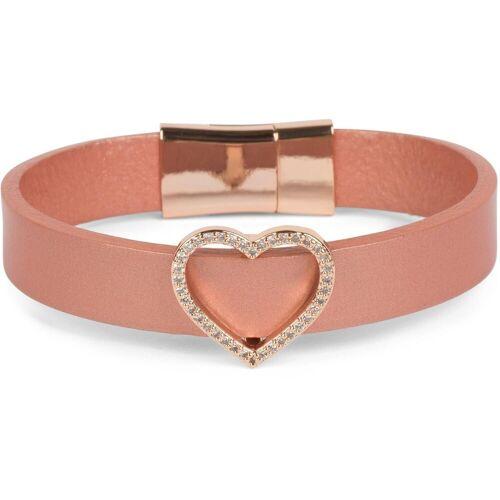 styleBREAKER Armband »Armband mit Herz & Strass«, Armband mit Herz & Strass, Rose