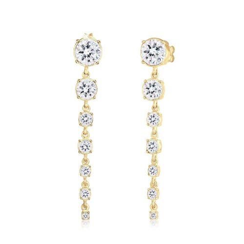 Elli Premium Paar Ohrhänger »Ohrhänger Swarovski® Kristalle 925 Silber«, Kristall Ohrhänger