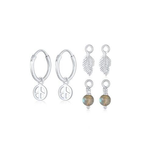 Elli Ohrring-Set »Creolen 3-Set Peace Feder Labradorit 925 Silber«, Boho, Silber
