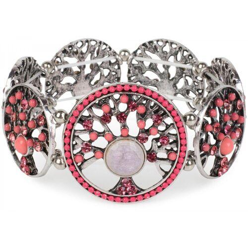 styleBREAKER Armreif »Armband mit Lebensbaum Amuletten mit Perlen & Strass«, Armband mit Lebensbaum Amuletten mit Perlen & Strass, Koralle