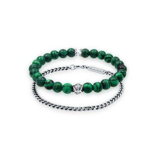 Kuzzoi Bead-Armband-Set »Herren Set Panzer Malachit Perlen 925 Silber«, Basic Armband
