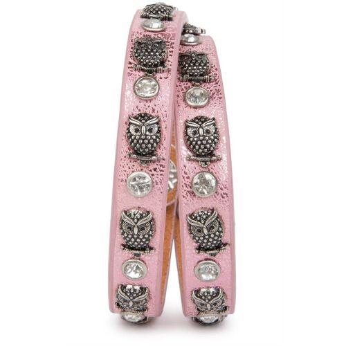 styleBREAKER Wickelarmband »Armband mit Eulen Nieten & Strass«, Armband mit Eulen Nieten & Strass, Antik-Rosa
