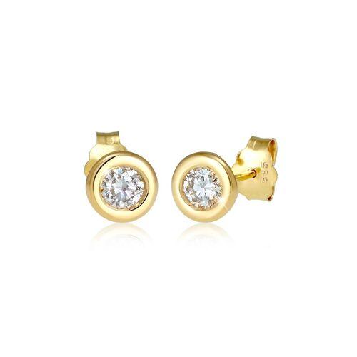 Elli Premium Paar Ohrstecker »Solitär Ohrstecker Diamant (0.06) ct. 585 Gelbgold«, Diamant