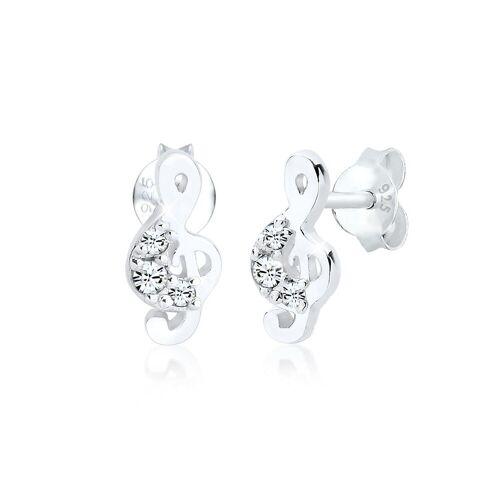Elli Paar Ohrstecker »Notenschlüssel Swarovski® Kristalle 925 Silber«, Notenschlüssel