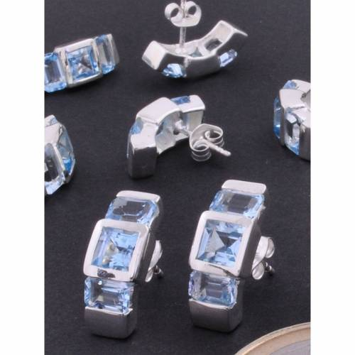 Adelia´s Paar Ohrhänger »Topas blau Ohrschmuck / Ohrhänger«