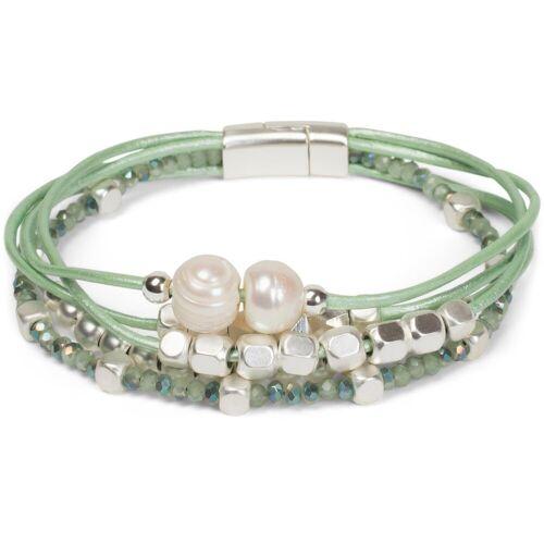 styleBREAKER Armband »Magnetverschluss Armband mit Perlen und Bändern«, Magnetverschluss Armband mit Perlen und Bändern, Mint
