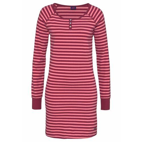 Buffalo Nachthemd im Ringel Look mit Knopfleiste, rosa-bordeaux-gestreift