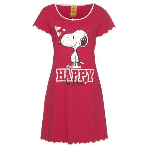 Peanuts Nachthemd mit Snoopy Print und Kräuselsäumen, rot