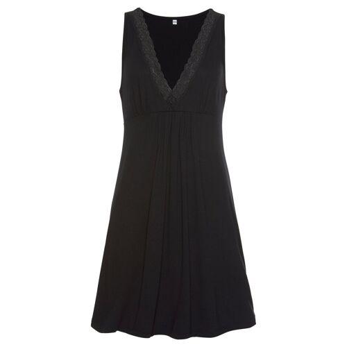 LASCANA Nachthemd mit eleganter Spitze, schwarz