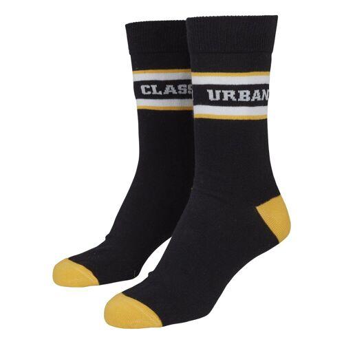 URBAN CLASSICS Basicsocken »Logo Stripe Sport Socks 2-Pack«, schwarz-weiß-gelb