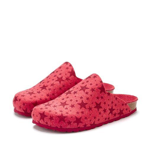 LASCANA Hausschuh Pantoffel aus Filz mit wärmenden Korkfußbett und Sternenprint, rot